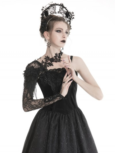 Dark in Love Black Gothic Flower Lace Sleeve for Women