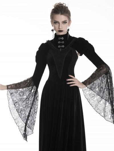 Dark in Love Black Vintage Gothic Velvet Cape with Big Lace Sleeves