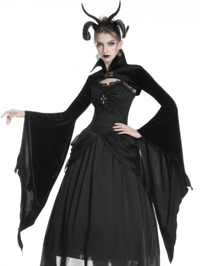 Dark in Love Black Gothic Velvet Vampire Cape with Big Bat Sleeves