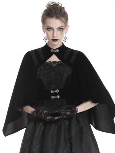 Dark in Love Black Vintage Gothic Velvet Shawl for Women