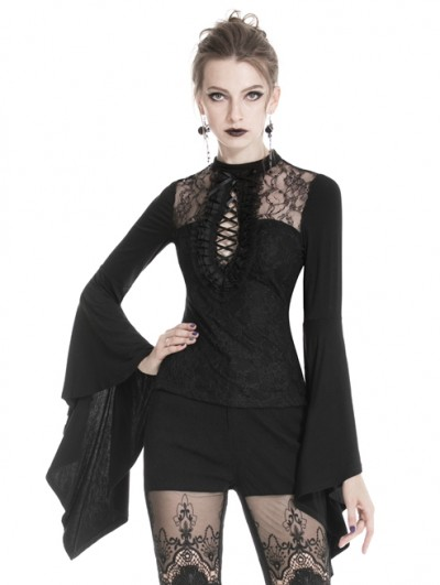 Dark in Love Black Romantic Gothic Lace Long Trumpet Sleeve T-Shirt for Women