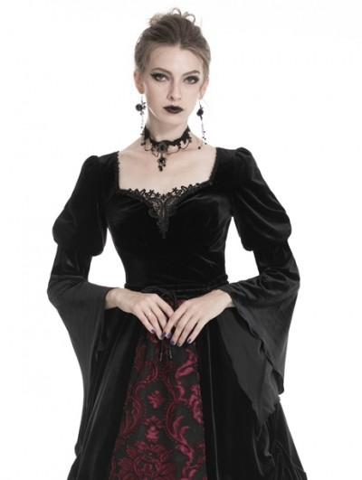 Dark in Love Black Vintage Gothic Velvet Long Sleeve T-Shirt for Women