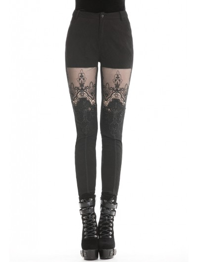 Dark in Love Black Gothic Flower Lace Tight Long Trousers for Women