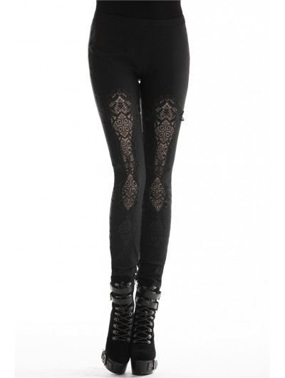 Dark in Love Black Gothic Hollow-Out Lace Legging for Women