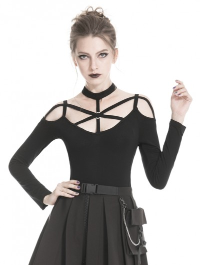 Dark in Love Black Gothic Punk Harness Style Long Sleeve T-Shirt for Women