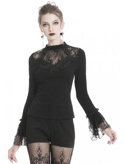 Dark in Love Black Gothic Lace Long Sleeve T-Shirt for Women