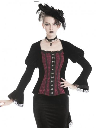 Dark in Love Black and Red Vintage Gothic Velvet Short Jacket for Women