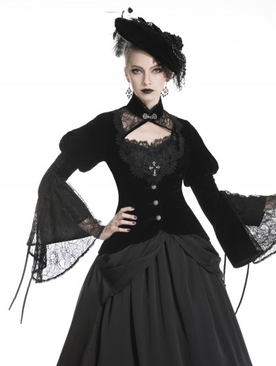 Dark in Love Black Vintage Gothic Victorian Velvet Short Jacket for Women