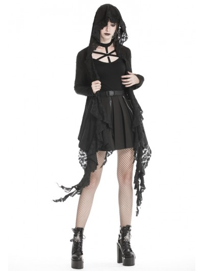 Dark in Love Black Gothic Punk Hooded Trench Coat for Women