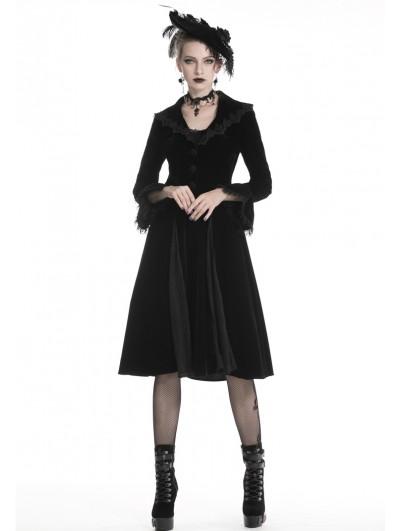 Dark in Love Black Elegant Gothic Velvet Long Coat for Women