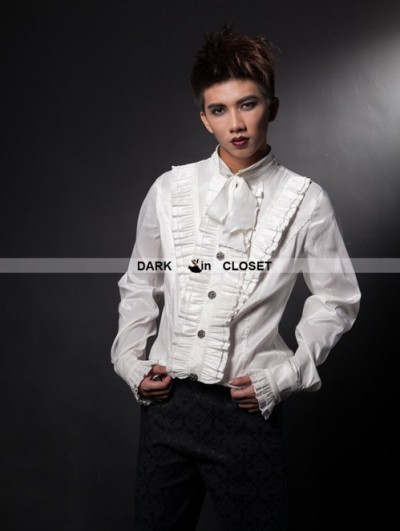 Pentagramme White Long Sleeves Bowtie Gothic Blouse for Men