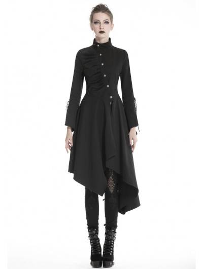 Dark in Love Black Gothic Punk Asymmetrical Long Jacket for Women