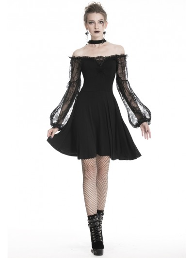 Dark in Love Black Gothic Lace Off-the-Shoulder Long Sleeve Short Dress