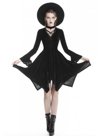 Dark in Love Black Fashion Gothic Punk Velvet Causal Irregular Dress
