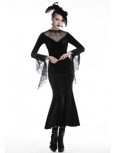 Dark in Love Black Elegant Gothic Velvet Long Sexy Fishtail Dress