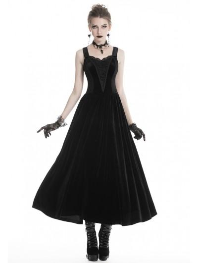 Dark in Love Black Vintage Gothic Velvet Maxi Prom Party Dress