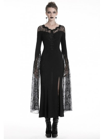Dark in Love Black Sexy Gothic Lace Long Party Dress
