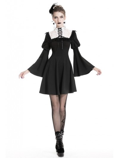 Dark in Love Black and White Gothic Lolita Chiffon Short Dress