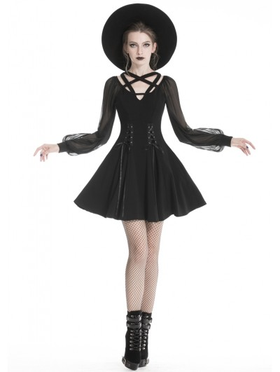 Dark in Love Black Fashion Gothic Long Sleeve Harness Design Short Dress