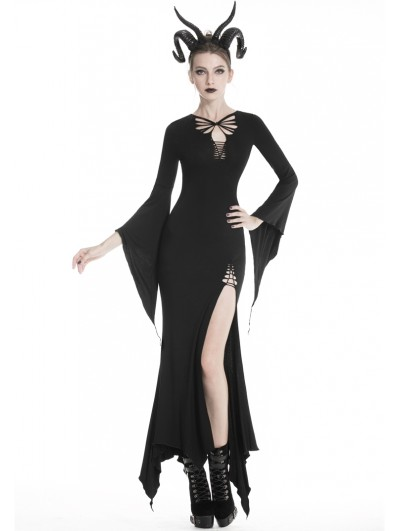 Dark in Love Black Sexy Gothic Hollow-out Slim Maxi Dress