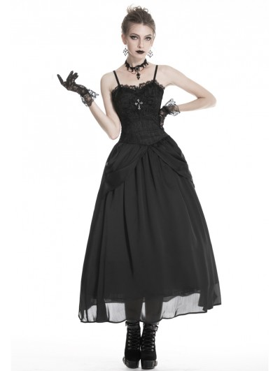 Dark in Love Black Gothic Noble Jacquard Long Prom Party Dress