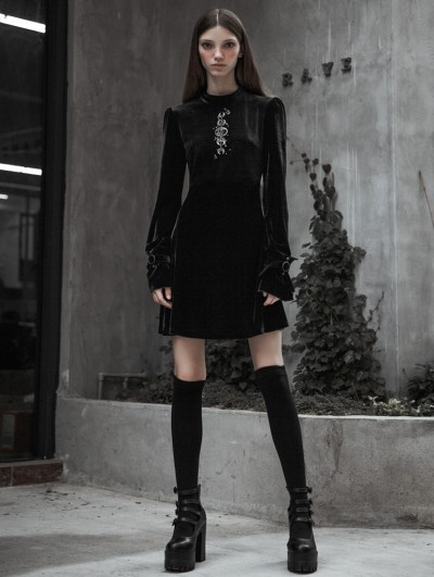 Punk Rave Black Fashion Street Gothic Velvet Long Sleeve Embroidery Dress
