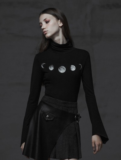Punk Rave Black Fashion Street Gothic Eclipse Printting Long Sleeve T-Shirt for Women