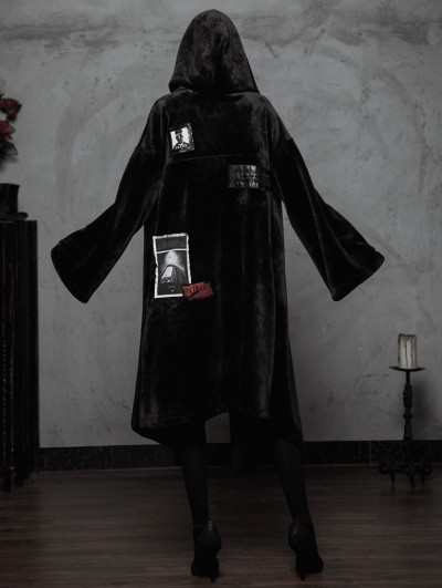 Punk Rave Black Fashion Street Gothic Witch Long Cardigan Jacket for Women
