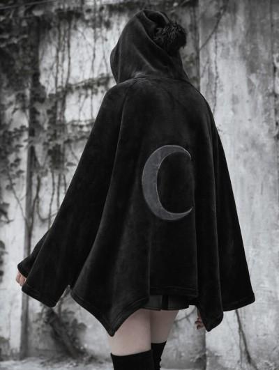 Punk Rave Fashion Street Gothic Dark Velvet Embroidered Cloak Jacket for Women