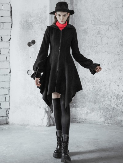 Punk Rave Black Fashion Street Gothic Irregular Hem Woolen Coat with Hat for Women