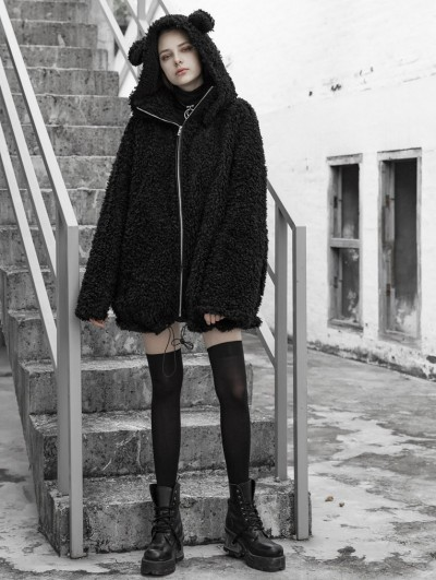 Punk Rave Black Fashion Street Gothic Loose Hooded Casual Jacket for Women