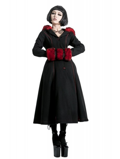 Punk Rave Black and Red Gothic Two Wear Woolen Initation Fur Long Winter Coat for Women