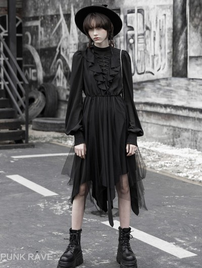 Punk Rave Black Fashion Street Gothic Chiffon Long Sleeve Asymmetric Dress