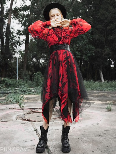 Punk Rave Red Fashion Street Gothic Chiffon Long Sleeve Asymmetric Dress