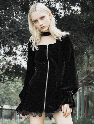 Punk Rave Black Fashion Street Gothic Velvet Long Sleeve Short Dress