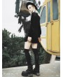 Punk Rave Black Fashion Street Gothic Vintage Cheongsam Style Velvet Mini Dress