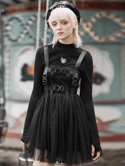 Punk Rave Black Fashion Street Gothic Punk Short Dress with Detachable Belts