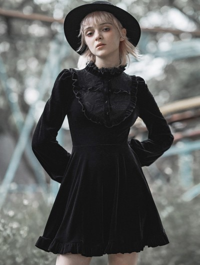 Punk Rave Black Fashion Street Gothic Velvet Long Sleeve Sweet Short Dress
