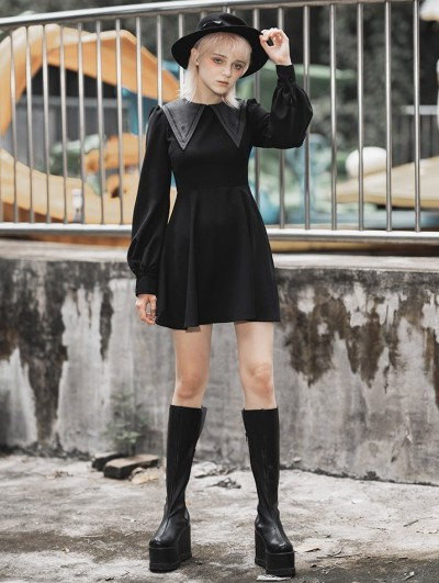 Punk Rave Black Fashion Street Gothic Vintage Long Sleeve Short Dress