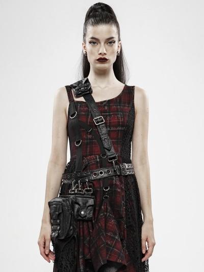Punk Rave Black Gothic Punk Heavy Metal PU Leather Waist Bag