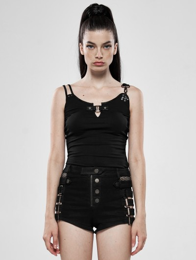 Punk Rave Black Gothic Steampunk Sexy Tank Top for Women