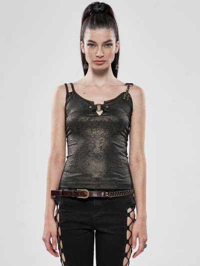 Punk Rave Brwon Gothic Steampunk Sexy Tank Top for Women