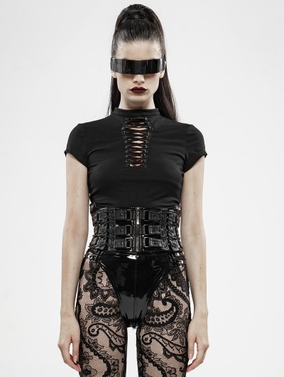 Punk Rave Black Sexy Gothic Punk Hollow-out Short Sleeve T-Shirt for Women