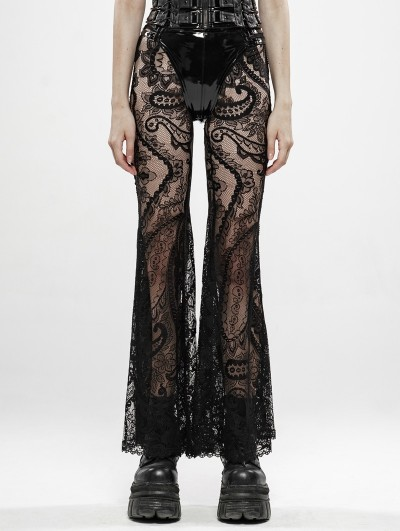 Punk Rave Black Gothic Lace Transparent Legging Trousers for Women