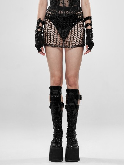 Punk Rave Black Gothic Cyber Tech Sexy Hollow-out Skirt