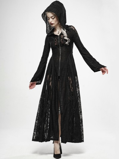 Punk Rave Black Gothic Dark Moon Lace Long Hooded Coat
