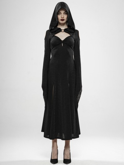 Punk Rave Black Gothic Wild Witch Long Dress with Hat