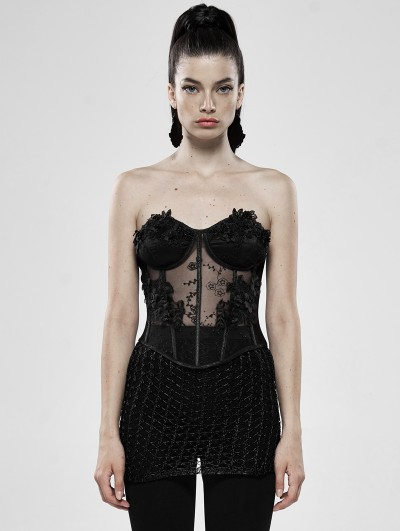 Punk Rave Black Romantic Gothic Flower Perspective Sexy Corset