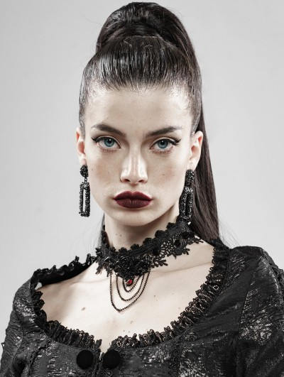 Punk Rave Black Rose And Thorns Gothic Lace Necklace