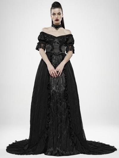 Punk Rave Black Vintage Gothic Victorian Off-the-Shoulder Long Dress